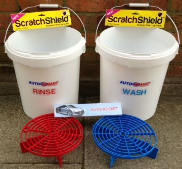 2 x Car Wash Buckets and Shields, with Autosmart labels 20L Litre